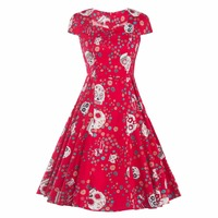 Audrey Hepburn Style Square Neck Slim Print Vintage Floral Dress Robe Vestidos Women Casual Rockabilly Party