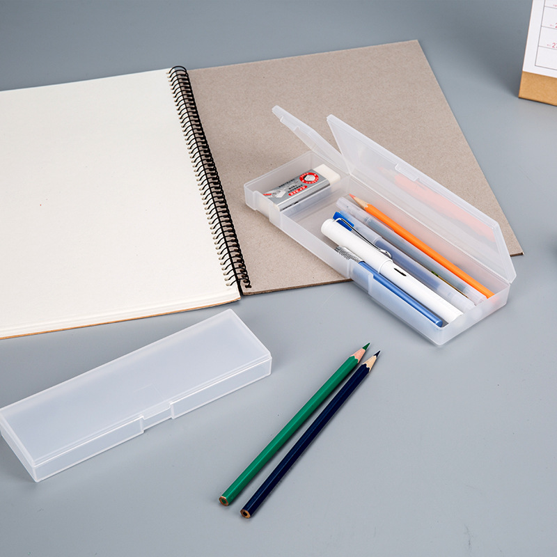 MUJI Frosted Transparent Pencil Case Non-toxic PP Plastic Pen Box School Stationery Multifunction Simple Style