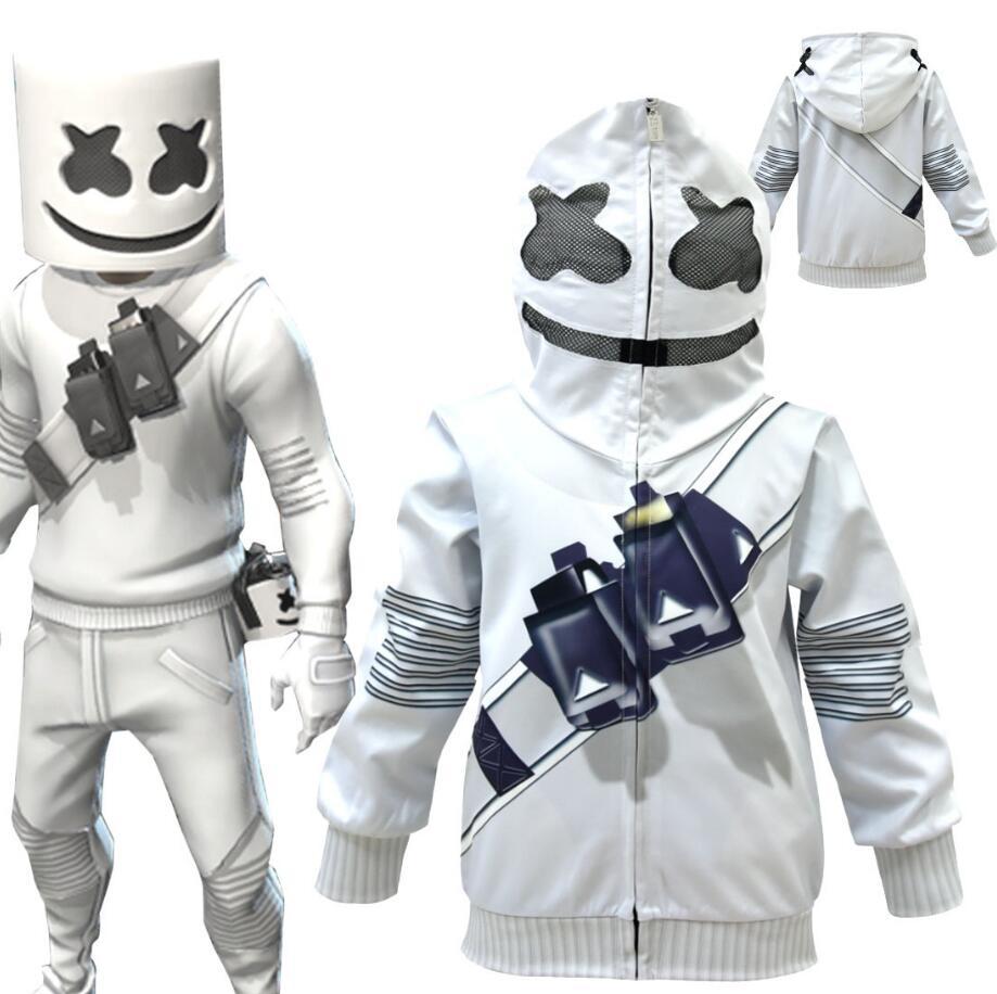 DJ Marshmallow Kids Boy Cosplay Costume Casual Hoodie Sweatshirt Set Fancy Dress