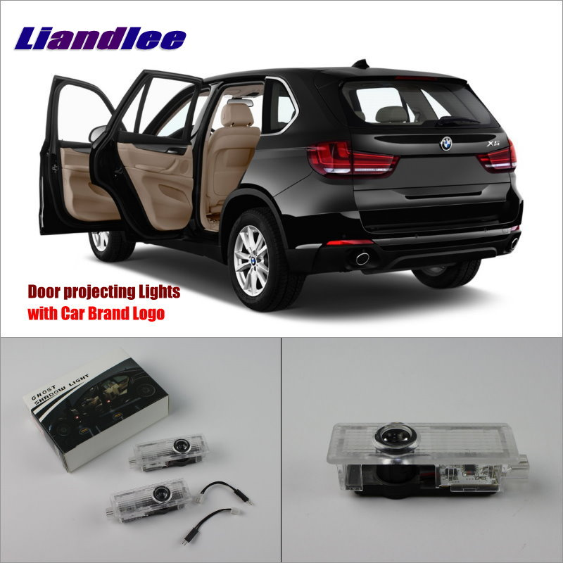 Liandlee Car Door Ghost Shadow Lights For BMW X5 E70 2007~2014 Courtesy Doors Lamp / Brand Logo LED Projector Welcome Light jingxiangfeng 2 pcs led ghost shadow courtesy welcome light car door projector lamp with logo case for skoda superb 2009 to 2014