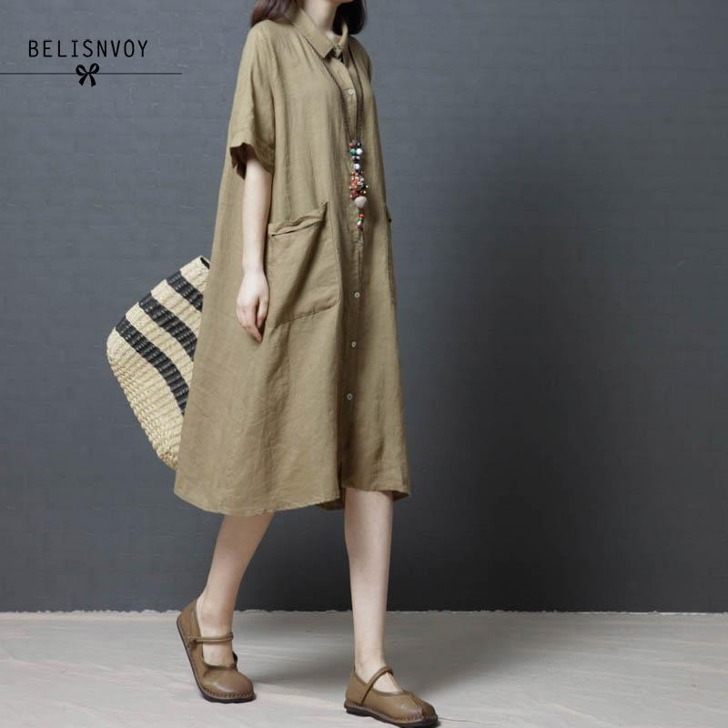 2018 Women Clothes Plus Size Loose Casual Summer Midi Dress Vintage Cotton Linen Short Sleeve Shirt Dresses Vestidos Mujer