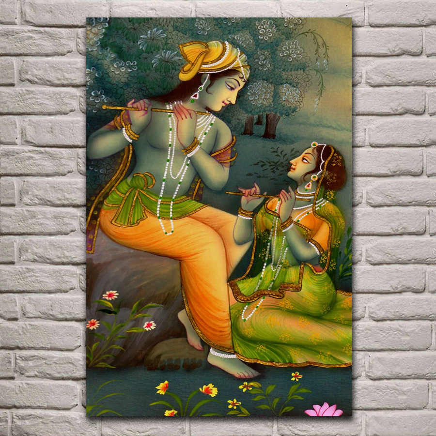 lord krishna radha art print living room home wall art decor wood frame fabric poster EX446
