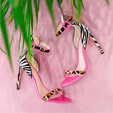 Sexy Mixed Colors Ladies Sandals Ankle Strap Black White Striped Gladiator Shoes Women Cut-out Leopard