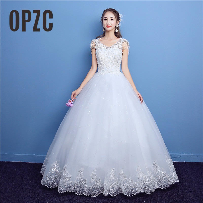 Korean Lace V Neck Beading Vintage Wedding Dresses 2018 New Fashion Elegant Princess Appliques Gown Customized