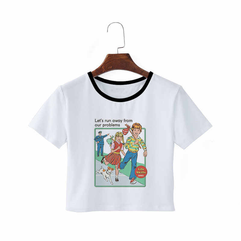 Streetwear Harajuku ciała topy Grunge estetyczne Crop Top w stylu Vintage Tumblr Kawaii Ulzzang ubrania dla kobiet letnie T koszula Vogue
