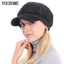 Octagonal Hats Snapback-Caps Fashion Beret Women YOUBOME for Gorras Planas Corduroy Female