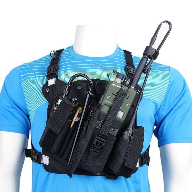 Abbree Radio Draagtas Borst Harnas Pocket Tas Holster Voor Baofeng UV 5R UV 82 UV 9R Tyt TH UV8000D Yaesu Walkie Talkie