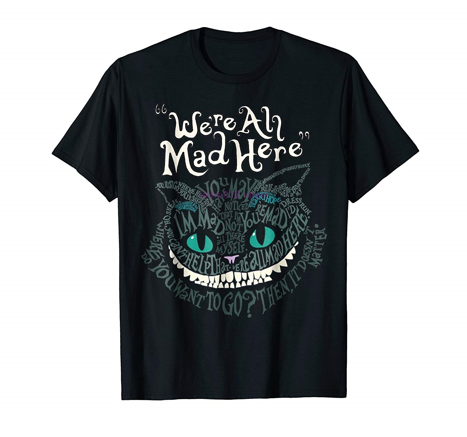 Brand Men Shirt Cheshire Alice Cat We Re All Mad Here Wonderland T Shirt Casual Short Sleeve Top Funny Tees Cotton Tops T Shirt