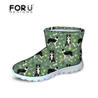 FORUDESIGNS Women Boots Fashion Cute Border Collie Dogs Pattern Flats Snow Boots Women's Shoes Winter Slip on Footwear Female