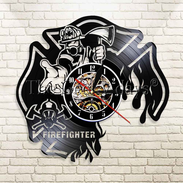 1 Buah Pemadam Kebakaran Ide Hadiah untuk Petugas Pemadam Kebakaran Vinyl  Jam Merekam Jam Pemadam Kebakaran 9467cbcb54