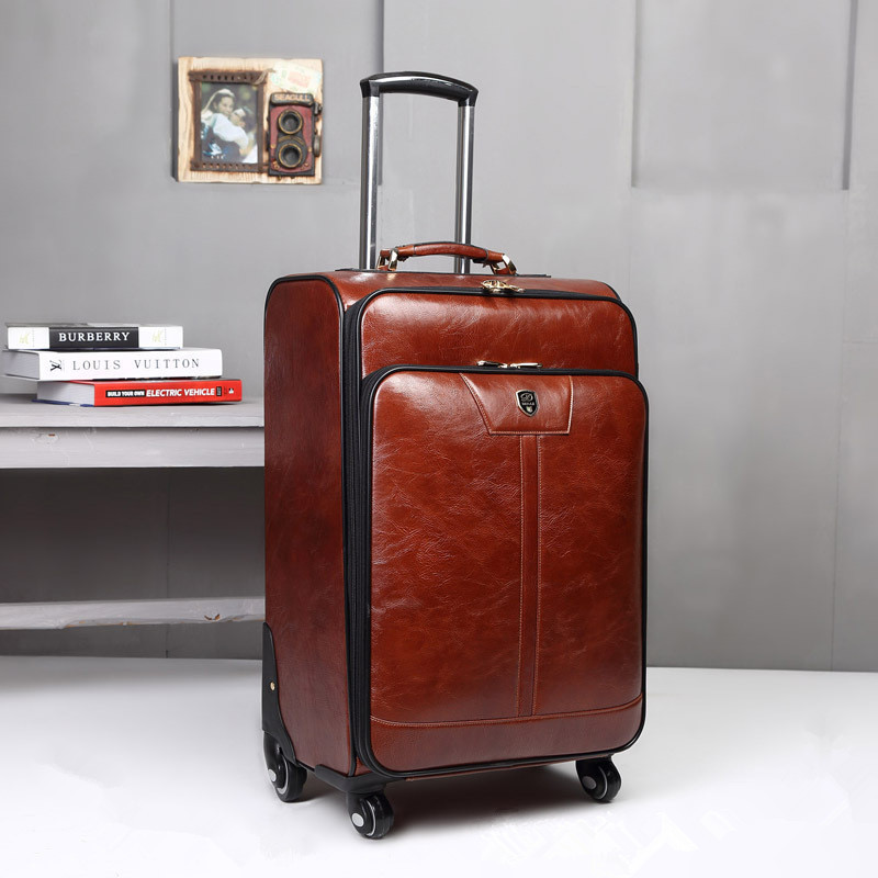 b22bc439f48f 24 дюймов кофе кожа тележки багажа бизнес тележка чехол мужская чемодан  дорожная сумка бесплатная доставка EMS