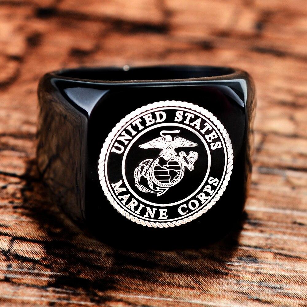 Faitheasy per dropshipping Uomini Anello In Titanio Nero anelli di Nozze di Titanio Esercito USMC Anelli Per Gli Uomini E Le Donne