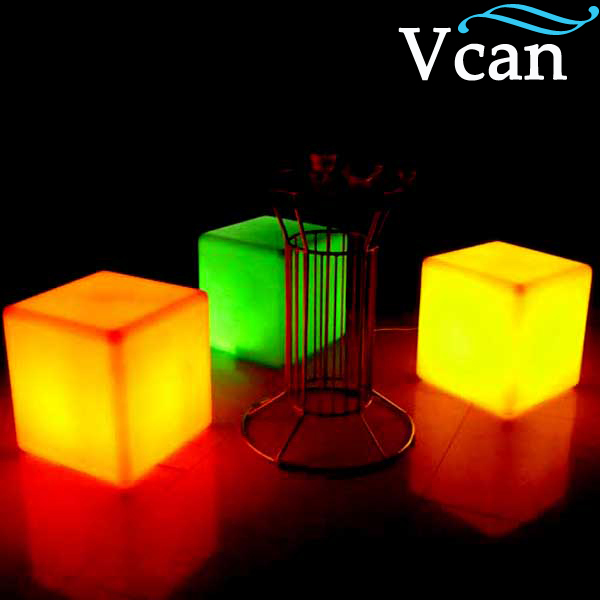 Colorful RGB Light LED Cube Chair VC-A400 to outdoor or indoor as garden seat