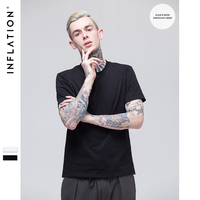 INFLATION 2017 Summer Fashion New Collection Men Blank Tshirt 2 pieces / set(same size/ set )Hip Hop Summer Tshirt