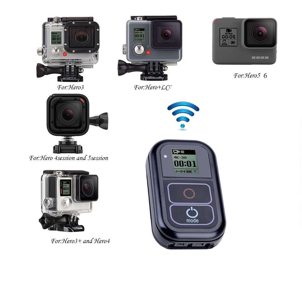 Pour GoPro Télécommande + Étui En Silicone Étanche + Chargeur Câble + Dragonne + Serrure Pour GoPro Hero 6,5, 4,4 5 Session Accessoires