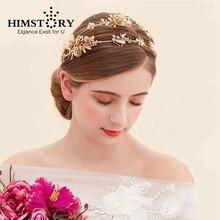 HIMSTORY Baroque Style Retro Gold Leaf Flower Wedding Tiara Crown Double Layer Headband Bridal Hair Accessory Hairwear