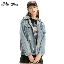 Mix Wind Autumn New Women Denim Jacket Female Fashion Hole Jacket Loose Comfortable Hooded Baseball Frayed Denim Jacket