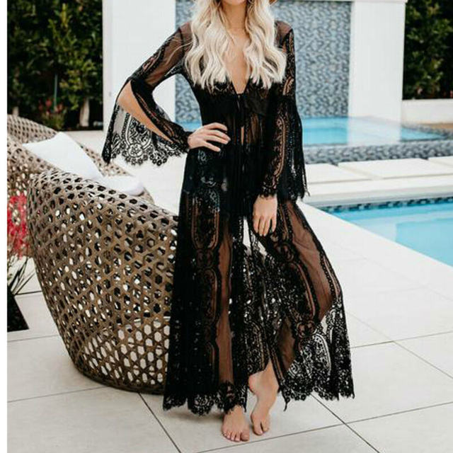 Black Sheer Lace Kimono Cardigan Women Summer Boho Long Sleeve Vacation Longline Beach Blouses