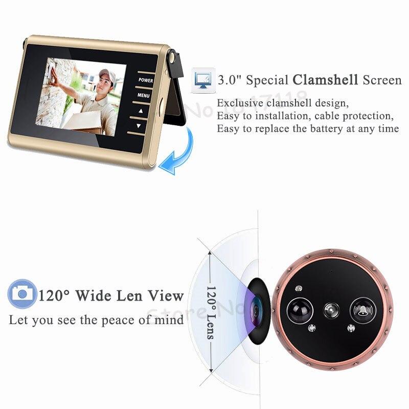 HD écran coloré Auto Vidéo Enregistrement Intelligent Porte caméra masquée PIR détecteur de mouvement Intelligent Judas Sonnette Vidéo Porte Caméra - 3