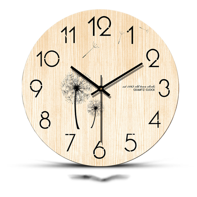 12/14/16 Inch Natural Wood Hanging Clock Needle Mute Movement Circular  Watch Relogio Simple Time Clocks for Bedroom Decoration-in Wall Clocks from