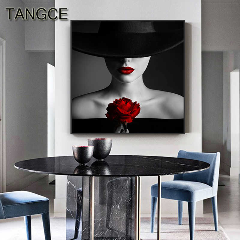 Sexy Black Skirt Red Lip Rose Canvas Art Modern Busty Lady Posters and Prints Quality Wall Art for Living Room Cuadro Sexy Decor