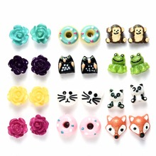 Onnea 12pairs/pack Flower Animal Stud Earrings Set Cute Cat Fox Owl Donuts Hypoallergenic Earrings for girls Christmas gifts