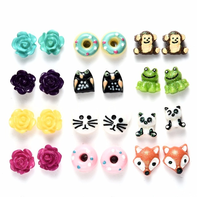 a25317302 Onnea 12pairs/pack Flower Animal Stud Earrings Set Cute Cat Fox Owl Donuts Hypoallergenic  Earrings for girls Christmas gifts