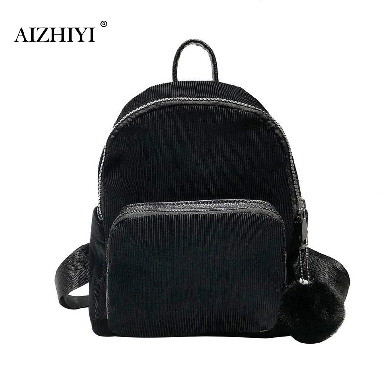 00aab00e641 Women Corduroy Hair Ball Backpack Fashon Solid Color Small Student  Schoolbags Casual Simple Shoulder Travel Bag Tool Backpack Best Laptop  Backpack ...