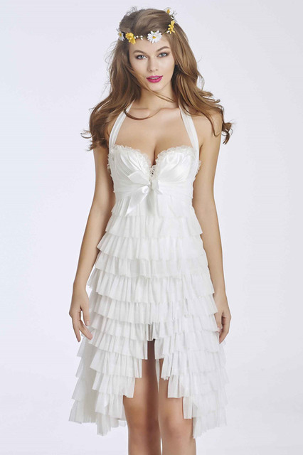 Women  sexy satin lace up back Corset & Dress Skirt