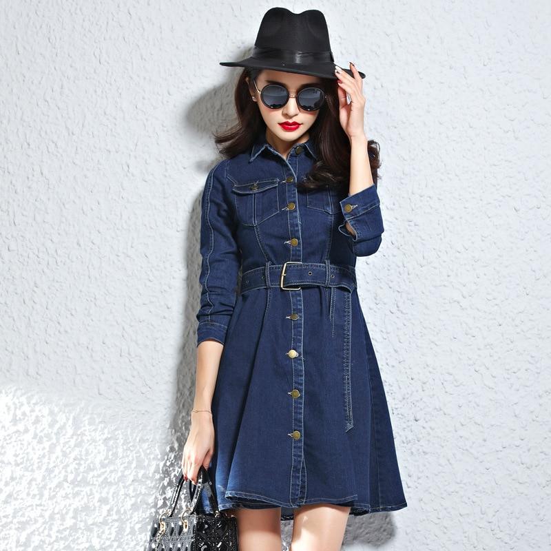 eea68f03d1 New Women Denim Belted Shirt Dress in Dark Blue Lady Autumn Long Sleeve  Button Through Denim Outfits LN
