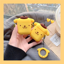 For AirPods Case Cute Cartoon Pudding Dog Earphone Cases For Airpods 2 Lovely Purin Puppy Protect Cover with Finger Ring Strap