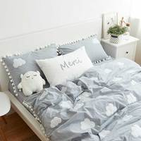Cartoon embroidery clouds bedding set teen child,full queen king cotton character home textile bed sheet pillow case quilt cover
