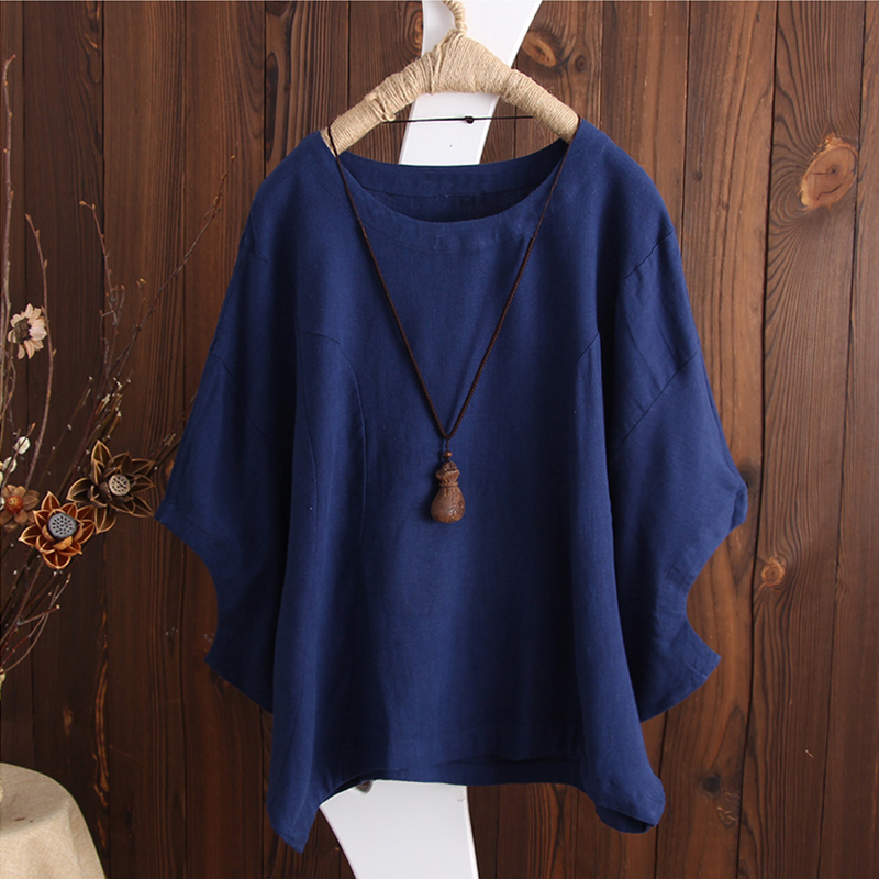 SCHMICKER 2018 Plus Size Short Batwing Sleeve Party Blouse Summer Women Casual Solid O Neck Cotton Linen Baggy Basic Tee-Shirts 2