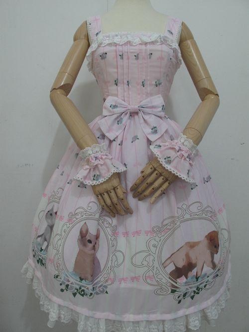 Nieuwe mode lolita vrouwen meisjes jurk kat gedrukt vintage jurken chiffon wijn rood/blauw/roze retro cosplay kostuum prinses jurk