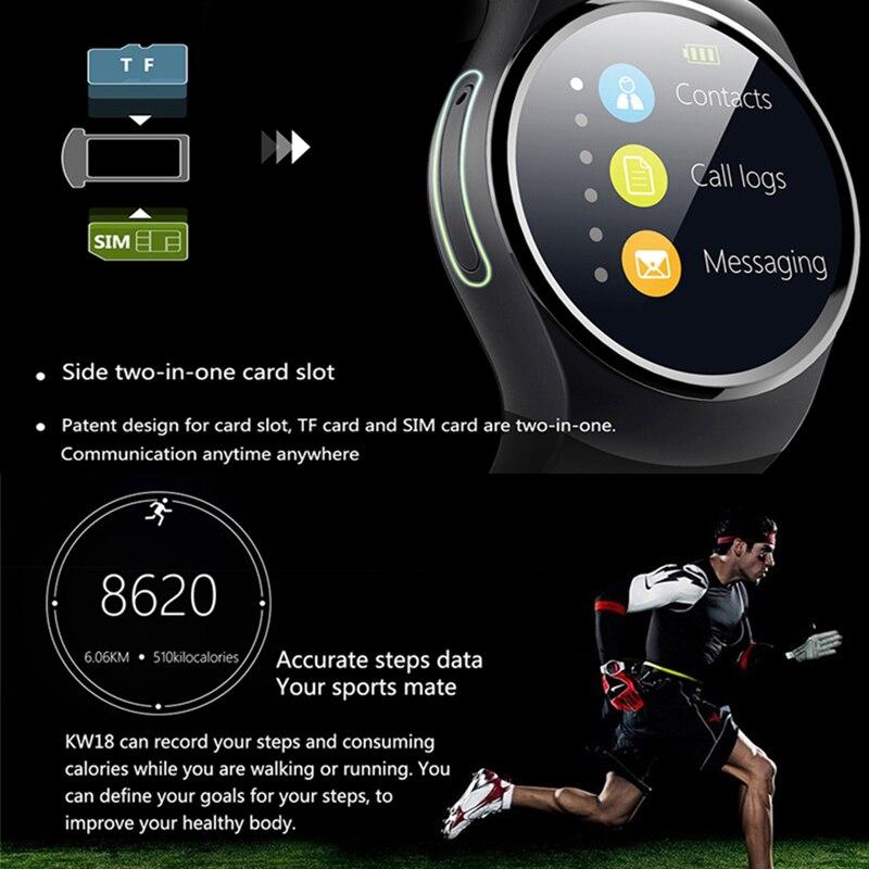 Montre intelligente hommes KW18 Bluetooth montres intelligentes fréquence cardiaque podomètre SIM Smartwatch réponse appel TF téléphone montre pour Android IOS - 3