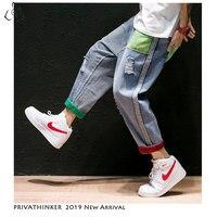 Privathinker мужские джинсы прямые брюки 2019 мужские s Японская уличная одежда рваные Лоскутные Джинсовые брюки мужские винтажные синие джинсы