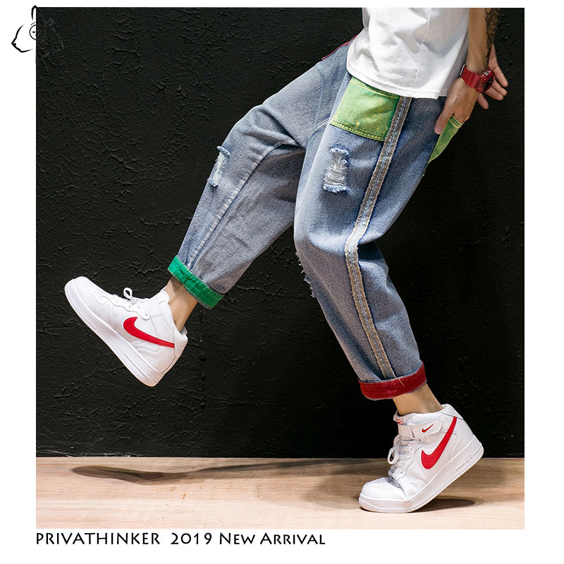 Privathinker Men   Jeans   Straight Pants 2019 Mens Japanese Streetwear Shredded Patchwork Denim Pants Male Vintage Blue   Jeans