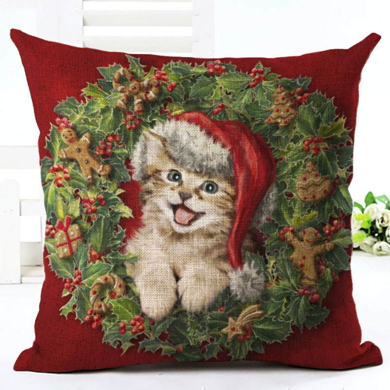 2019 New Year Cartoon Pattern Cat and Dog 45x45cm Pillowcase Merry Christmas Decorations for Home Santa Clause Linen Cover Natal (4)