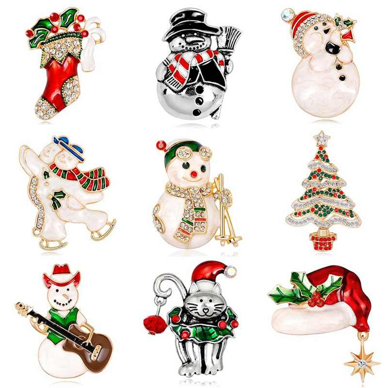 Enamel  Christmas Snowman Costume Brooch Cheap Red Rhinestone Christmas Brooches Lot Collar Clip For Scarf Buckle Christmas Gift