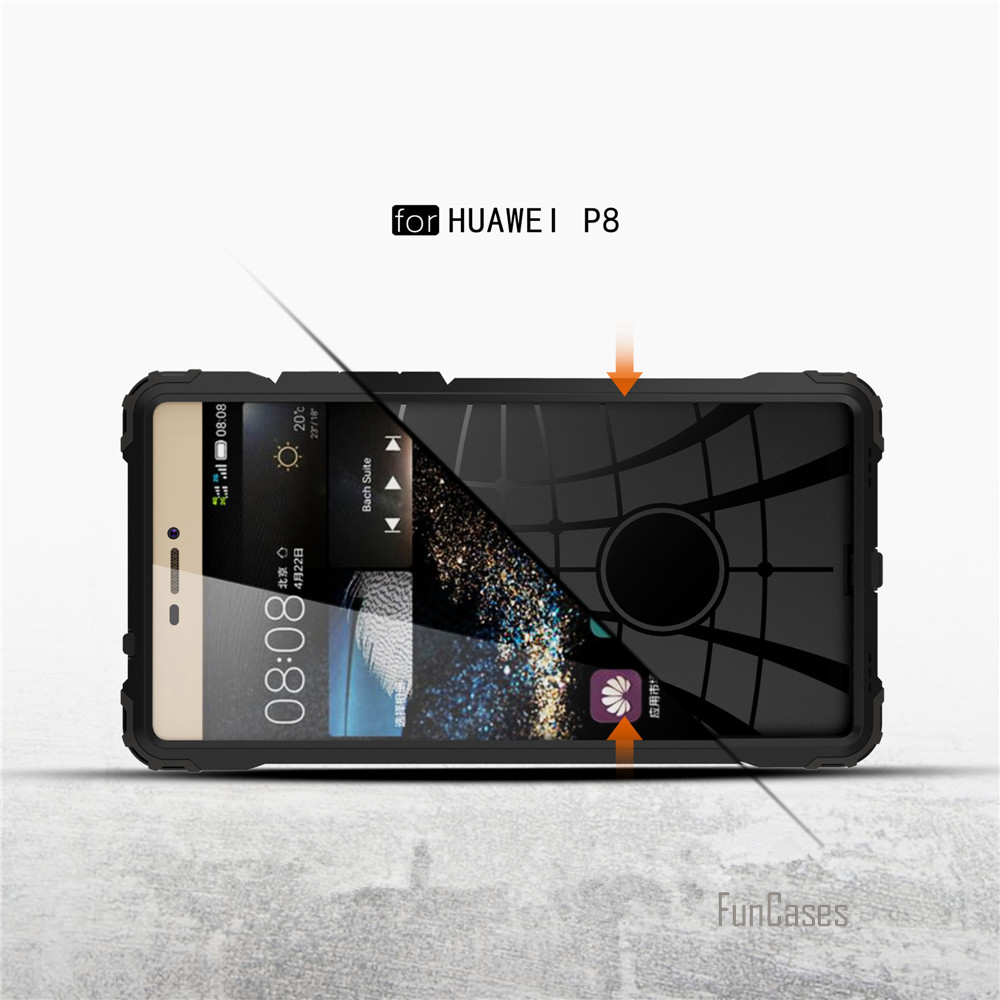 New For Huawei P8 Lite P8 Case Shockproof Cover Soft TPU Silicone + PC Diamond Armor Defend Shield Fundas Mobile Phone Cases bag