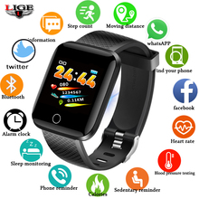 LIGE Sport Smart Bracelet Fitness Tracker Pedometer Heart Rate Monitor Blood Pressure Oxygen LED Color Touch Screen Smartwatch