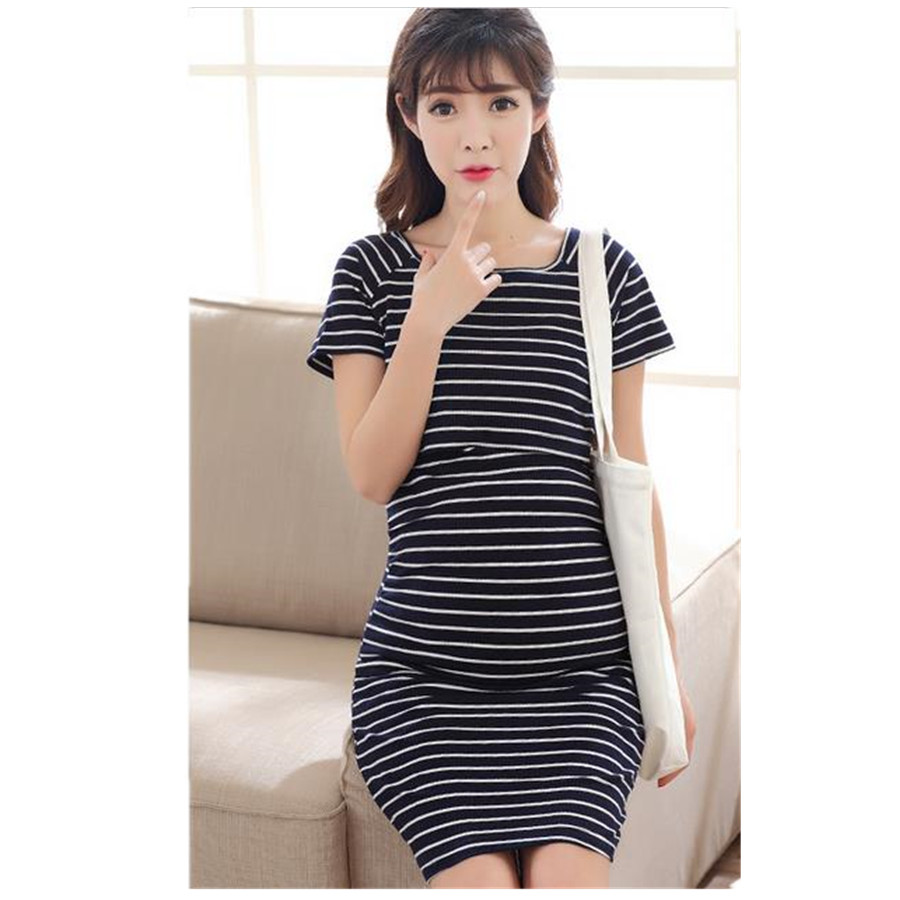Maternity Dress Autunm Striped Short Sleeve Dress Breast feeding Dresses Nursing Clothes Pregnant Women Maternity Clothes B0089