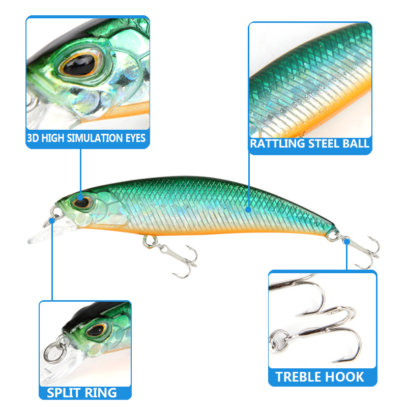 HOT New Minnow mini small fishing lure 60mm high quality vibration swing sink hard bait efficient ice lures japan fishing tackle in Fishing Lures from Sports Entertainment