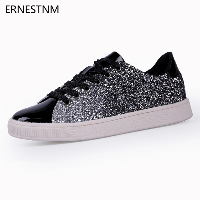 ERNESTNM 2019 Fashion Women Vulcanize Shoes Woman Sneakers Rhinestone Lace-up Female Casual Bling Flat Shoes Plus Size GreenERNESTNM 2019 Fashion Women Vulcanize Shoes Woman Sneakers Rhinestone Lace-up Female Casual Bling Flat Shoes Plus Size Green