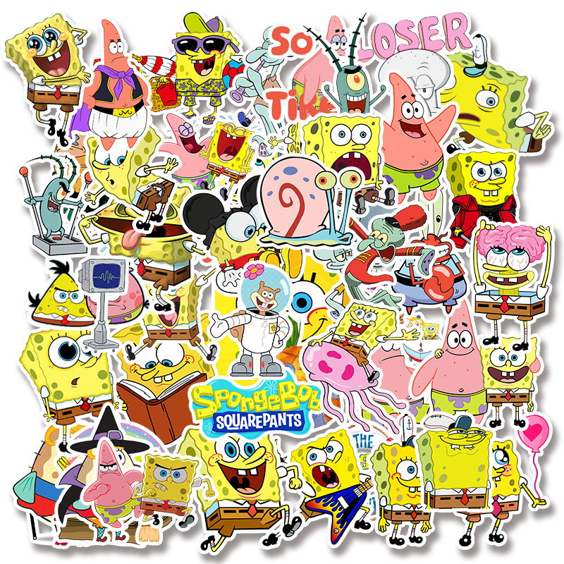 Image 4 - 50pcs/pack Cartoon SpongeBob SquarePants Sticker Waterproof For Mobile Phone Car Moto Laptop Luggage Bicycle Skateboard Decal-in Stickers from Toys & Hobbies