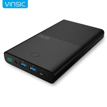 Vinsic Laptop Power Bank 30000mAh Portable Charger 4.5A 19V DC 2.4A Dual DC Input for iPhone X 8 8 Plus Xiaomi Notebook Tablets