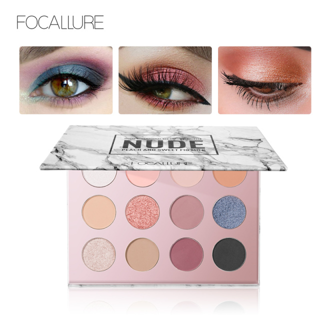 FOCALLURE Eyeshadow 12 Colors Matte Shimmer Glitter Eye Shadow Palette Maquiagem Profissional Completa Make Up