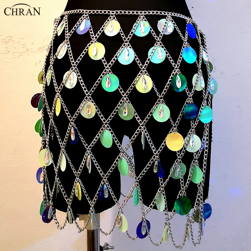 Chran Seascale Top Bralet Belly Waist Belt Chain Necklace Sequins Skirt Dress Ibiza Festival Costume Wear Discos Jewelry CRS206