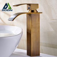 Luxury Antique Brass Deck Mounted Square Washing Basin Faucet Single Lever Waterfall Countertop Basin Mixer Taps