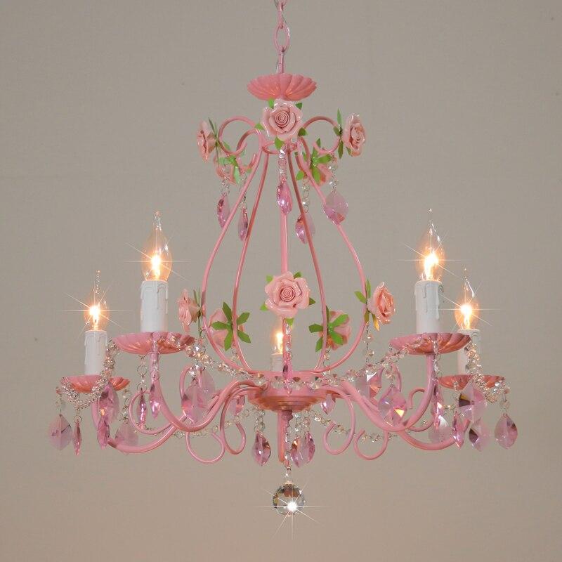 Розовая роза, Свадебный светильник, люстра для ресторана, хрустальная лампа, Потолочная люстра для спальни, Современный хрустальный светил